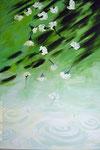 Weißer Nelkenregen. Öl auf Leinwand