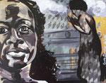 """""""Le témoin"""", peinture sur plexiglas, collage. 2020"""