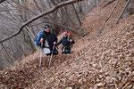 Sul sentiero per Arogno Luciano e Chico sommersi dalle foglie