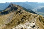 La cresta che arriva al Piz de Molinera e Martum