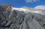 Qui ci sono 2 possibilità per salire in vetta: 1 salendo tra pietraie e macigni a sinistra, 2 su nevaio (ghiacciaio)