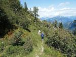 Sentiero per l'Alpe d'Albion