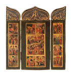 RUSSISCHE SCHULE UM 1800, Triptychon mit 12 Festtagen, CHF 13'200, June 2014