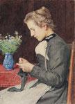 ALBERT ANKER, Strickende junge Frau mit Blumenstrauss, CHF 138'000, November 2011