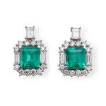 1 Paar exklusive Smaragd-Brillant-Diamant-Ohrringe 18K WG, CHF 18'600, November 2013