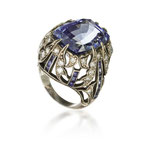 Grosser Saphir-Brillant-Ring 800 Silber, späte 50er Jahre, CHF 54'000, November 2014