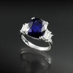 Saphir-Diamant-Ring 18K WG, CHF 24'000, June 2013