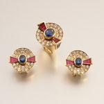 Saphir-Rubin-Brillant-Ring mit Ohrringen 18K GG, von Trudi Chèvre, CHF 16'800, November 2009