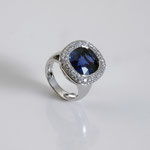 Saphir-Brillant-Ring 18K WG, CHF 30'000, June 2012