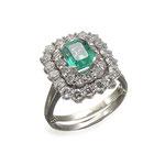Smaragd-Brillant-Ring 18K WG, CHF 10'800, June 2015
