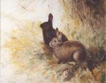 Zwei Kaninchen - Öl auf Leinwand 24 x 30 cm - verkäuflich