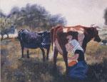 Kühe beim Melken - ÖL auf Leinwand 24 x 30 cm - verkäuflich
