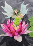 Elfe im Blütenkelch - Aquarell 80x60 cm verkäuflich