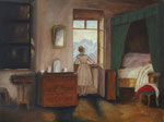 Frau am Fenster - Öl auf Leinwand 30 x 40 cm - verkäuflich
