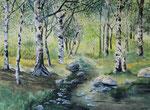 Birkenwald - Aquarell 40x50 cm verkäuflich