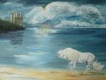 Einhorn am Strand - Acryl 60x80 cm unverkäuflich