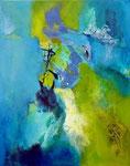 Blau trifft Grün - Acryl, Papier, Sand auf Leinwand 50x40 cm verkäuflich