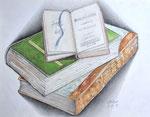 Alte Bücher - Schichttechnik mit Blei- und Buntstift 30x40 cm unverkäuflich, als Druck erhältlich