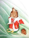 Der Schokoladenweihnachtsmann - Schichttechnik mit Blei- und Buntstift 30x20 cm unverkäuflich, als Druck erhältlich