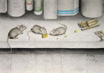 Da sind Mäuse im Keller! - Schichttechnik mit Blei- und Buntstift 30x40 cm unverkäuflich, als Druck erhältlich