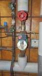 Alte Pumpe der Heizung.