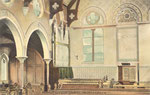"The church interior c. 1906, showing the text ""Rejoice in the Lord"""