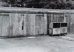 Oil dispensers in the yard , 9 August 1981 (John Alder)
