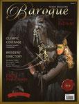 """Titelbild Baroque Magazine mit """"Alexandra Buschmann"""" und Friesenhengst """"Caruso""""."""