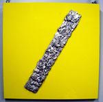 """""""Prometeo #02"""" 2016 scultura fusione alluminio/ cover all. yellow, cm.64 x 64 x 4.5"""