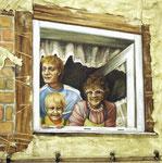 """Collagebild """"Die 80iger - In einem Pößnecker Hinterhof"""""""
