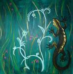 Gecko-Fantasiebild mit Blattmetall