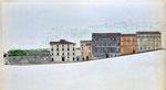 Spoleto, via dell'Arringo e p.zza del Duomo: stato di progetto, 1996, sez. longitudinale.