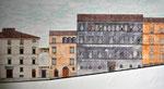 Spoleto, via dell'Arringo: stato di fatto al 1995, sez. longitudinale, dettaglio palazzo Racani-Arroni e Casa Menotti..