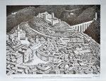 Luciano Manili - Spoleto, veduta del centro storico: p.zza del Mercato, p.zza del Duomo, Rocca Albornoziana, Ponte delle Torri