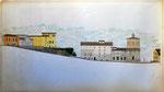 Spoleto, via dell'Arringo e p.zza del Duomo: stato di fatto al 1995, sez. longitudinale.