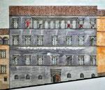 Spoleto, via dell'Arringo: stato di fatto al 1995, sez. longitudinale. dettaglio palazzo Racan-Arroni.