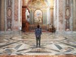 サンタマリアデッリアンジェリ教会の中は淡い色合いのコントラスト まるでCGの世界の中にいるみたい