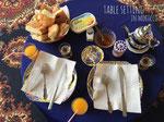 朝食のテーブルセッティング モロッコのお皿やティーポットが並んでかわいい♡