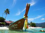 リペ島へ上陸するロングボートは 装飾も南国っぽくてかわいい♡