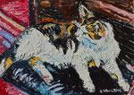 Sylvia Wanner, Original-Ölgemälde-Nr.566, Kater Mixa, Öl auf Leinen, 2014, 70x50 cm.