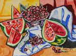 Sylvia Wanner, Original-Aquarellgemälde-Nr.846, Stillleben mit Wassermelone, Aquarellkarton, 2013, 48x36 cm.