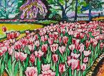 Sylvia Wanner, Original-Aquarellgemälde-Nr.839, Die Tulpen, Aquarellkarton, 2013, 48x36 cm.