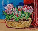 Sylvia Wanner, Original-Ölgemälde-Nr.568, Tulpen im Korb, Öl auf Leinen, 2014, 60x50 cm.