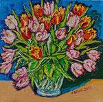 Sylvia Wanner, Original-Ölgemälde-Nr.542, Tulpen in einer Vase, Öl auf Leinen, 2013, 60x60 cm.