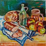 Sylvia Wanner, Original-Ölgemälde-Nr.177, Stillleben mit Brot und Wurst, Öl auf Leinen, 2002, 60x60 cm.