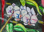 Sylvia Wanner, Original-Aquarellgemälde-Nr.812, Orchideen, Aquarellkarton, 2012, 48x36 cm.