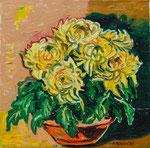 Sylvia Wanner, Original-Ölgemälde-Nr.201, Gelbe Chrysanthemen, Öl auf Leinen, 2002, 60x60 cm.
