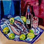 Sylvia Wanner, Original-Ölgemälde-Nr.434, Stillleben mit Lachsforellen und Zitronen, Öl auf Leinen, 2009, 60x60 cm.