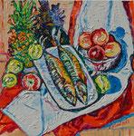 Sylvia Wanner, Original-Ölgemälde-Nr.552, Stillleben mit geräucherter Makrele, Öl auf Leinen, 2013, 60x60 cm.