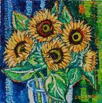 Sylvia Wanner, Original-Ölgemälde-Nr.514, Sonnenblumen, Öl auf Leinen, 2012, 60x60 cm.